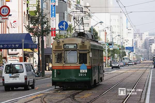 廣電1900型,接收自京都市電,1957年製造,每一輛車還取有京都的名字,像是1914號車命名為「平安」。(圖/作者提供)