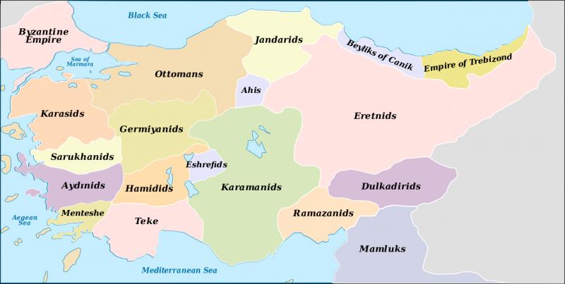 十四世紀晚期的安那托利亞政體分佈圖。(圖源:維基百科)
