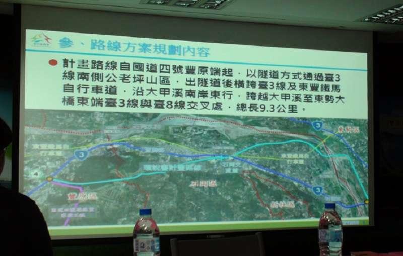 東豐快速道路路線圖,市府認為最好的隧道方案,也是徵收最多的方案。(朱淑娟提供)