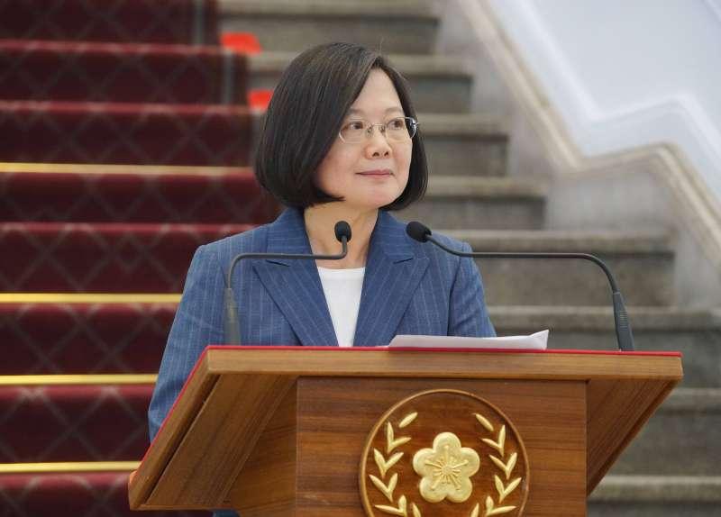 20190801-總統蔡英文於總統府發表談話。(盧逸峰攝)