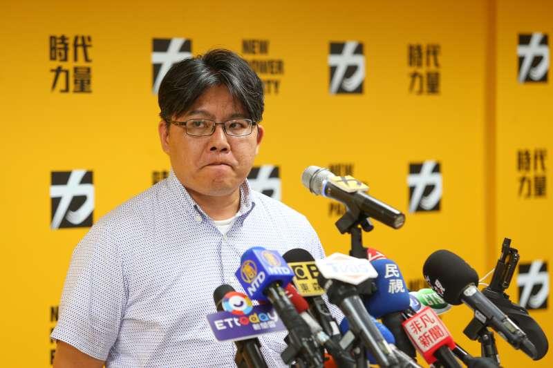 20190801-時代力量黨主席邱顯智1日於決策委員會議後召開記者會說明。(顏麟宇攝)