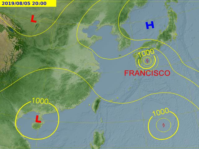 20190804-氣象專家吳德榮4日表示,位於關島、菲律賓間的熱帶低壓,有機會增強為颱風利奇馬。(取自中央氣象局)
