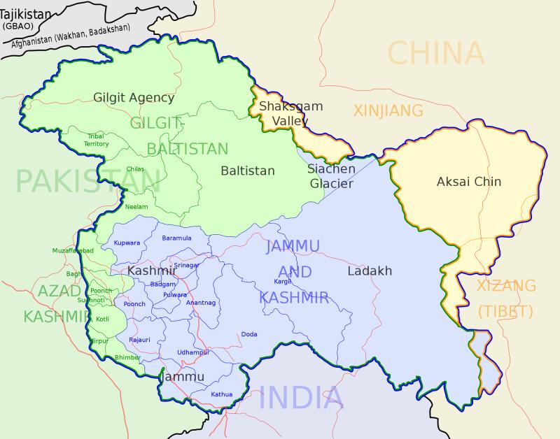 喀什米爾地圖(Planemad@Wikipedia / CC BY-SA 3.0)