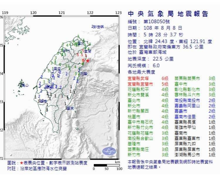 0808 地震資訊。(取自侯友宜臉書)