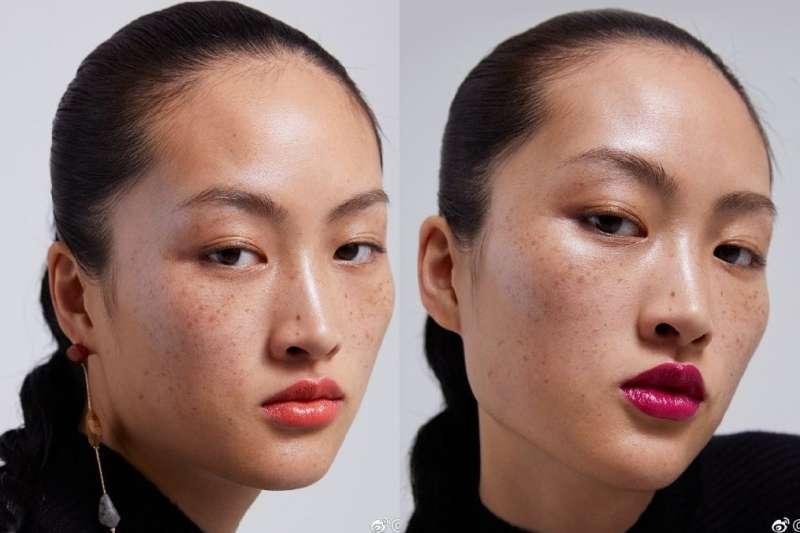 ZARA模特兒滿臉雀斑。(圖/ZARA微博官網)