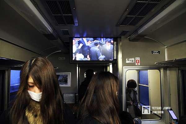 京阪電鐵在2013年之前,特急列車上裝有電視,可以提供NHK播送。(圖/陳威臣)