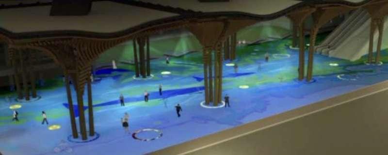 20190813-公共藝術「洄瀾鯨奇」連通LED燈光後的模擬圖。(鐵道局提供)