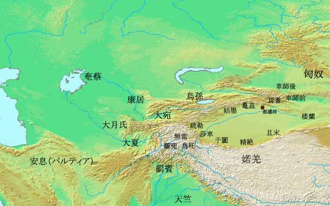 20190814-紀元前一世紀的西域諸國。(取自維基百科)