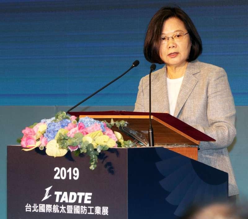 兩年一度的「台北國際航太暨國防工業展」今(15)起在世貿一館登場,總統蔡英文親自出席。(蘇仲泓攝)