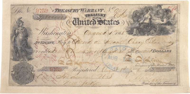 1867年美國從俄羅斯手中買下阿拉斯加,720萬美元支票(Wikipedia / Public Domain)