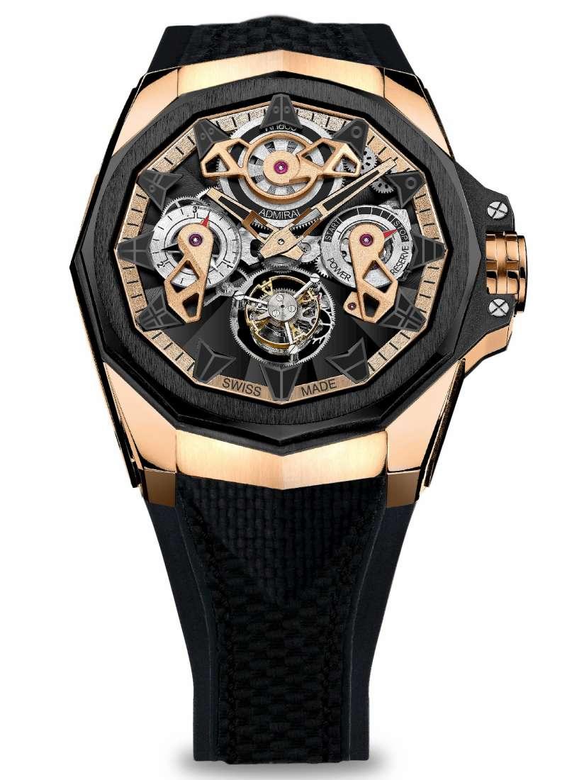Admiral AC-ONE 45 海軍上將系列鏤空陀飛輪腕錶_5級玫瑰金_NT$2,330,000(圖/崑崙錶 提供)