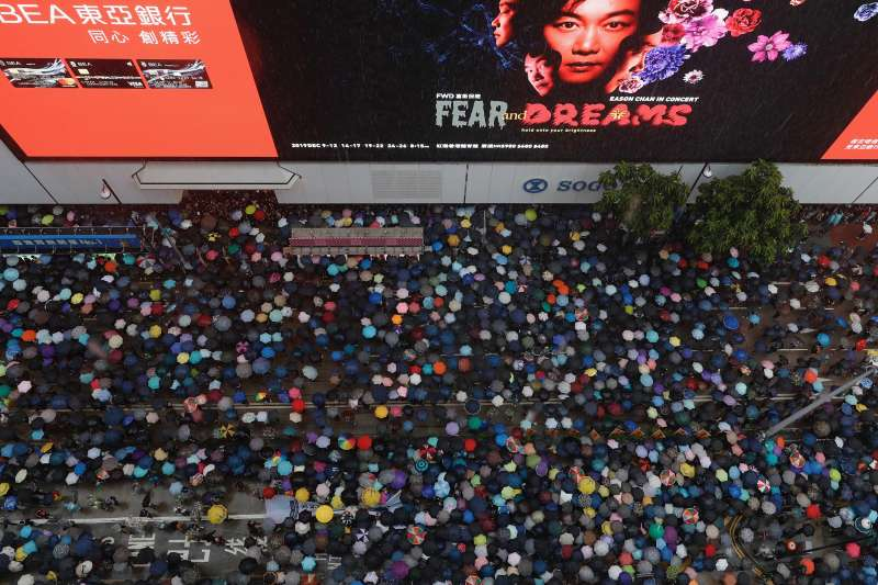 2019年8月18日,香港民陣發起「煞停警黑亂港 落實五大訴求」大規模集會(AP)