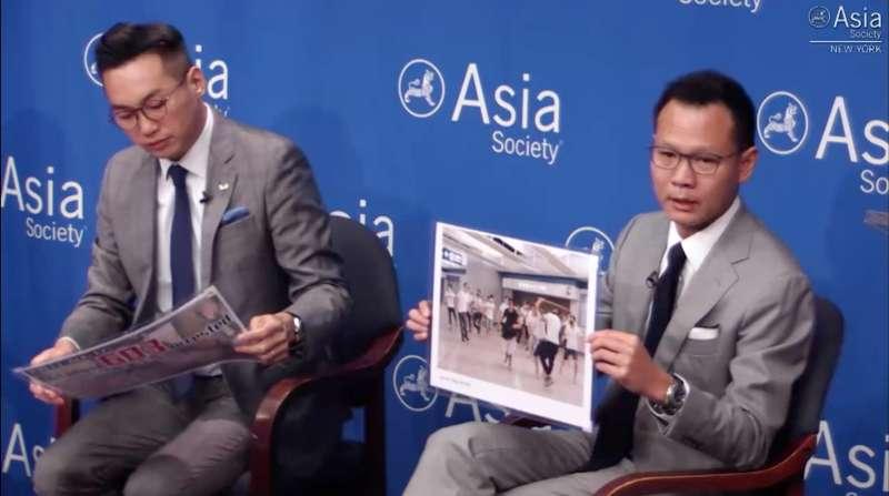 香港立法會泛民主派議員楊岳橋(左)、郭榮鏗在紐約介紹香港情勢。(亞洲協會官網)