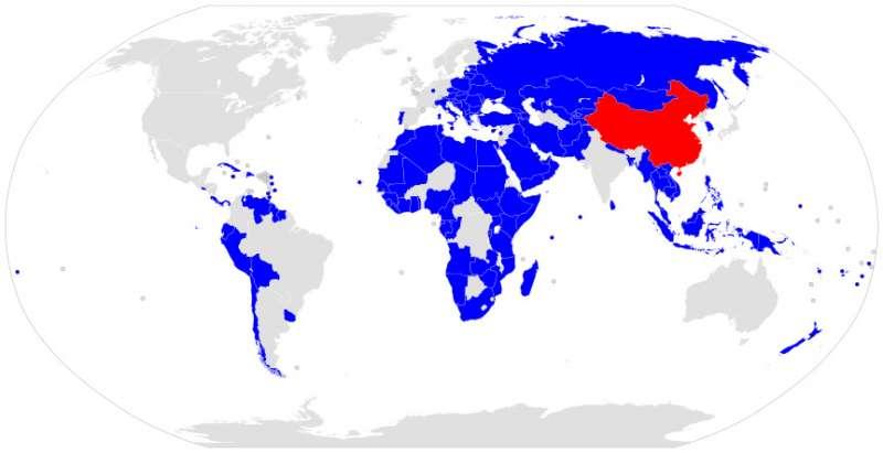已簽署一帶一路合作文件的國家。(取自維基百科)