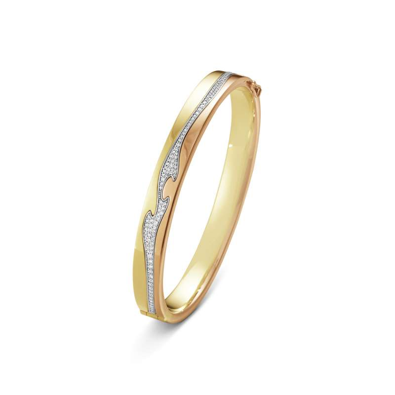 GEORG JENSEN-NEW FUSION系列-18黃K金玫瑰K金搭配白K金鋪鑲鑽石手鐲-建議售價NTD310,000(圖/喬治傑生 提供)