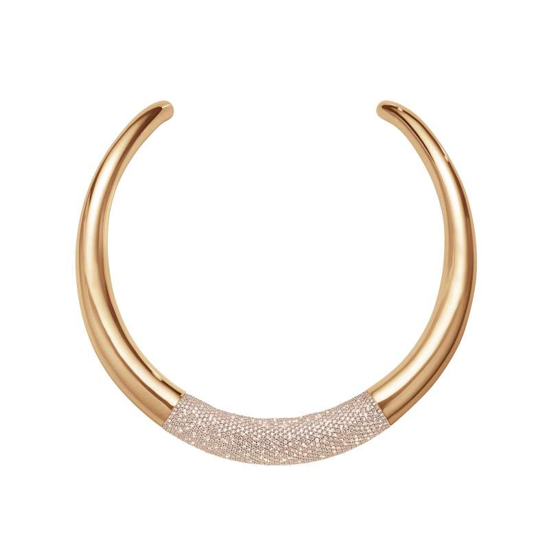 GEORG JENSEN-AURA系列-18玫瑰K金鋪鑲鑽石頸圈(鑽石總重17.39克拉)-建議售價NTD1,500,000(圖/喬治傑生 提供)