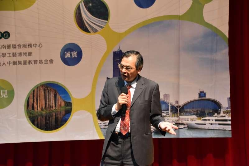 陸委會陳明通主委暢談兩岸關係的機遇與挑戰。(圖/徐炳文攝)