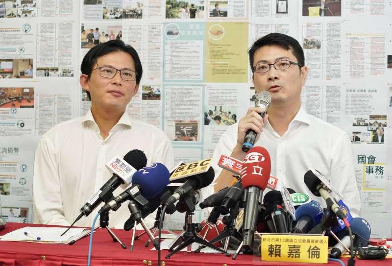 20190820-立委黃國昌、國會辦公室主任賴嘉倫出席記者會。(盧逸峰攝)