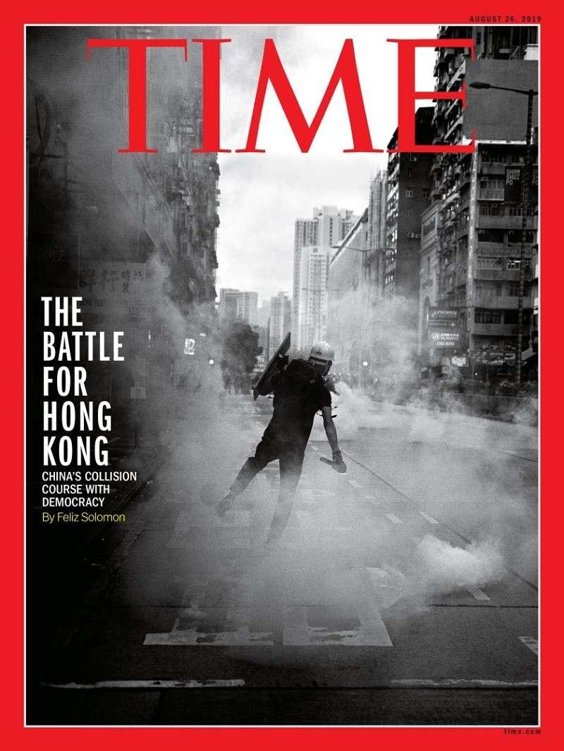 香港問題引來國際媒體,如《時代》雜誌的關注報導。(翻攝自《時代》雜誌網站)
