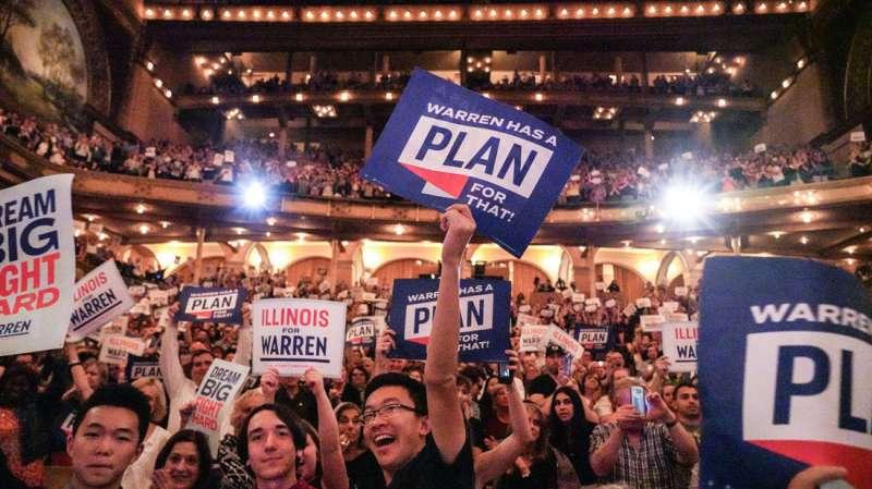 伊利諾州因對民主黨高度的支持,而成為共和黨籍總統川普的箭靶。(翻攝自Elizabeth Warren臉書)