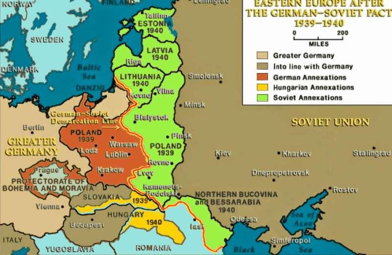 德蘇實際邊界(1939年10月-1941年6月)(Spiridon Ion Cepleanu@Wikipedia / CC BY-SA 4.0)