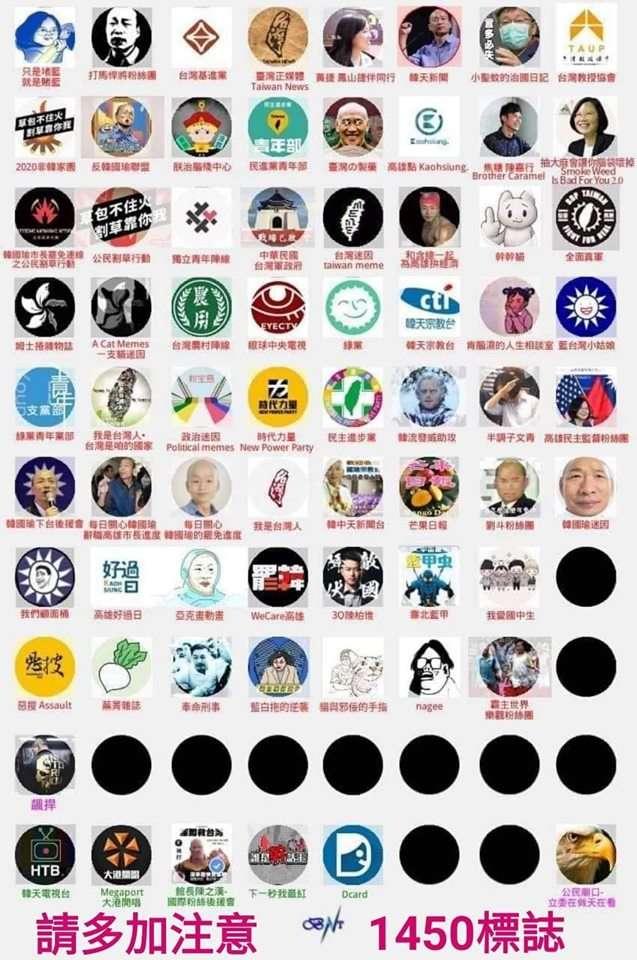 「台灣迷因」21日貼出一張「韓粉社團在傳的1450網軍圖」,包含館長陳之漢、藝人陳嘉行都被點名。(取自台灣迷因臉書)