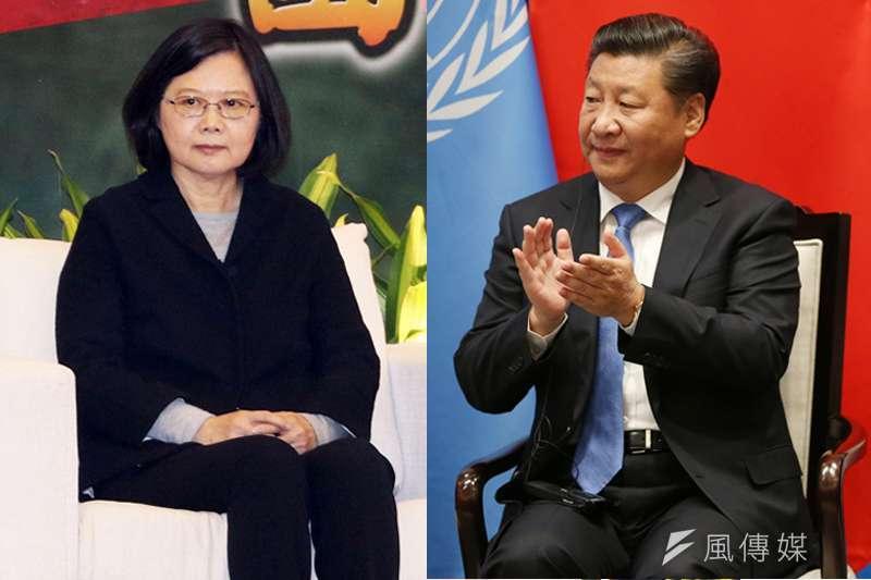 中國國家主席習近平成為總統蔡英文支持度回升的「海報人物」。(資料照,蘇仲泓攝、美聯社/影像合成:風傳媒)