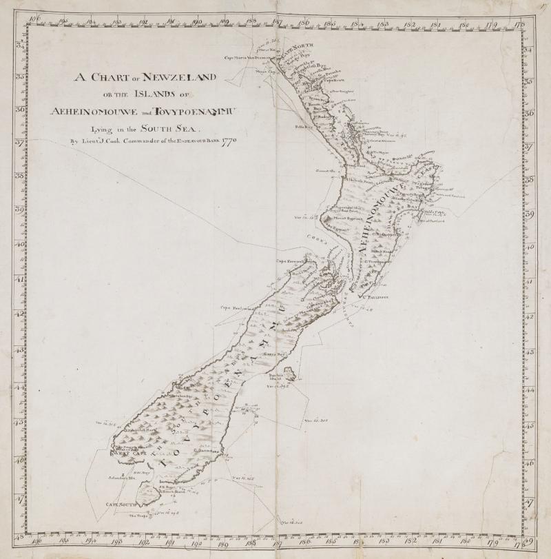 詹姆斯.庫克繪製的紐西蘭海圖。(左岸文化提供)