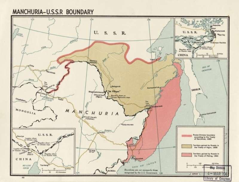 紅色粗線為《尼布楚條約》簽訂後的中俄邊界,棕色區塊為《璦琿條約》後割讓之處,紅色區塊則為《中俄北京條約》後喪失的領土。(取自維基百科)