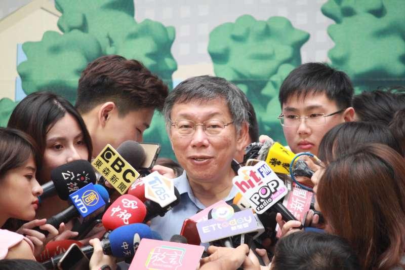 20190829-台北市長柯文哲29日上午接受訪問。(方炳超攝)