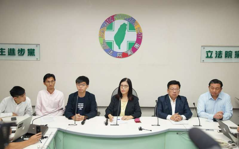 20190905-香港眾志秘書長黃之鋒拜訪立院民進黨團。(盧逸峰攝)