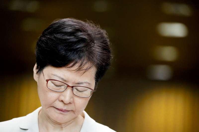香港特首林鄭月娥5日召開記者會,親自說明撤回修例的決定。(美聯社)