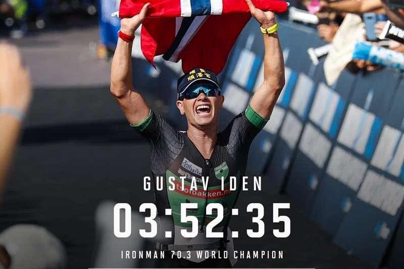 20190909-23歲的挪威選手Gustav Iden法國尼斯鐵人三項世界錦標賽奪冠,他在比賽期間所戴、繡有「埔鹽順澤宮」字樣的帽子也隨之爆紅。(取自IRONMAN now臉書)