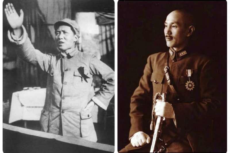 毛澤東(左)、蔣介石