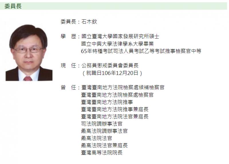 20190913-13日傳出公懲會委員長石木欽涉及不當行為,現已請辭。(取自公懲會)