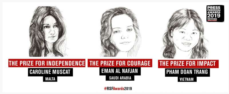 2019年「無國界記者」新聞自由獎頒給3位女記者(ReporterohneGrenzen@Twitter)