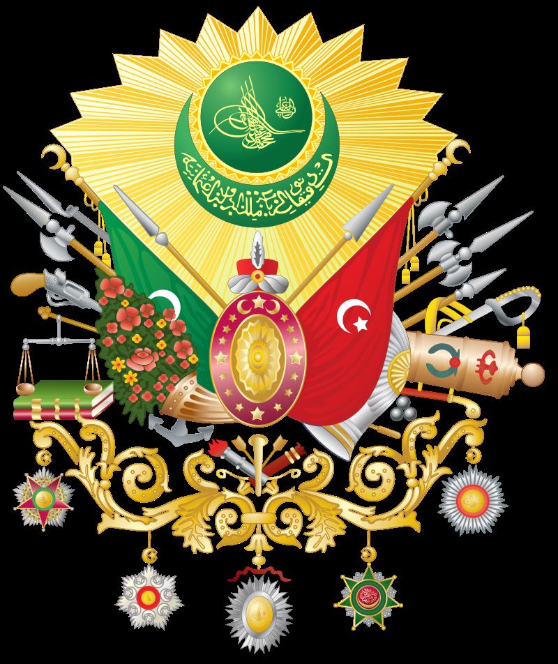 1882年的奧斯曼帝國國徽,紅星月旗象徵奧斯曼帝國,綠新月旗象徵哈里發,下方垂掛著奧斯曼五軍章。(作者提供,取自維基百科)
