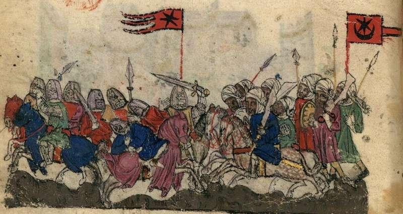 14世紀的《韃靼人歷史圖稿》,描繪耶爾穆克戰役一景,舉星月符號旗的即是薩拉遜人(saracen,阿拉伯世界的穆斯林)。(作者提供,取自維基百科)