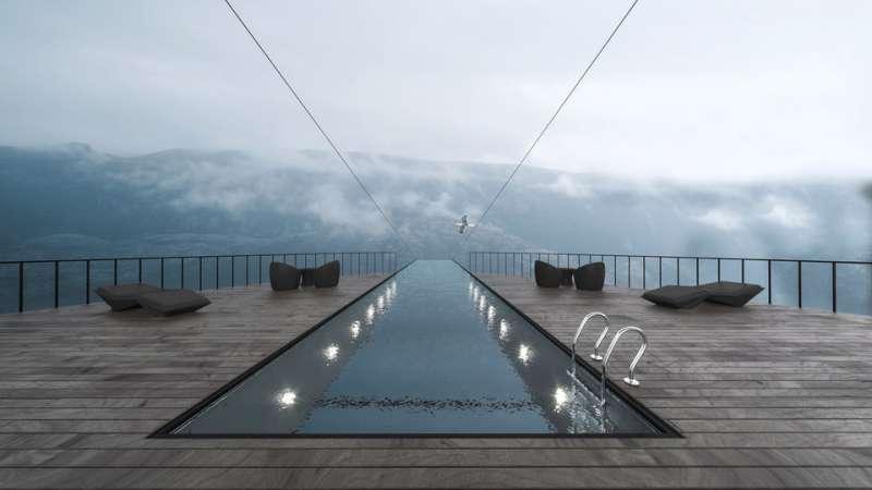 通往天國(?)的泳池。(圖/瘋設計)