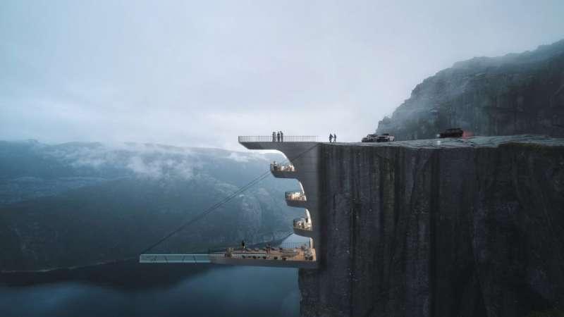 這間酒店ˋ預計要蓋在挪威知名觀光景點「聖壇岩(preikestolen)」的懸崖上,旅客可以從懸崖頂部進入酒店。(圖/瘋設計)