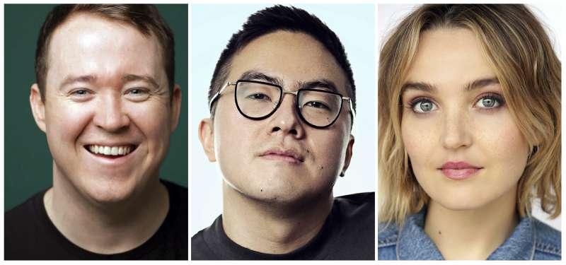 12日週六夜現場公布三位新聘喜劇演員:左起吉利斯(Shane Gillis)、楊伯文、芬曼(Chloe Fineman)。(美聯社)