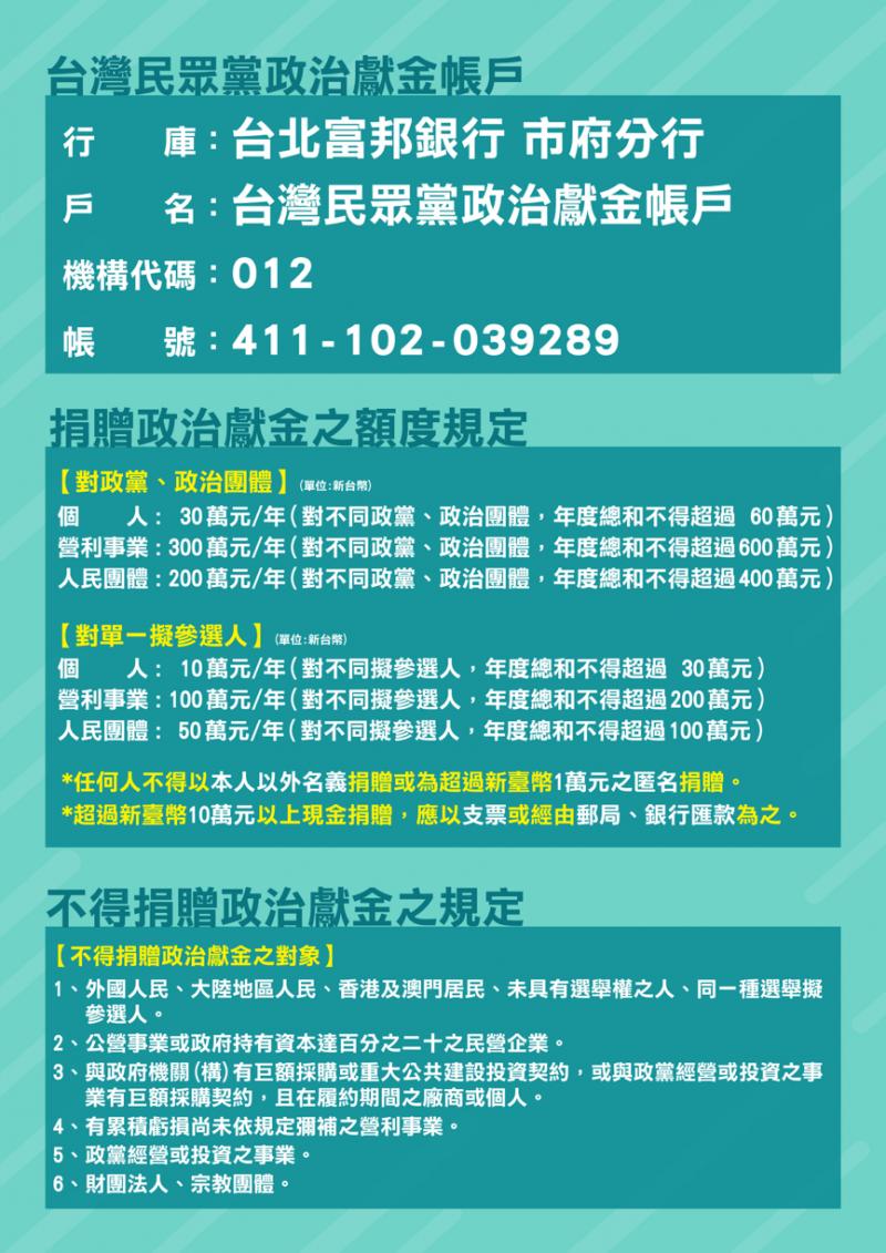 台灣民眾黨政治獻金專戶啟用,正式開放斗內。