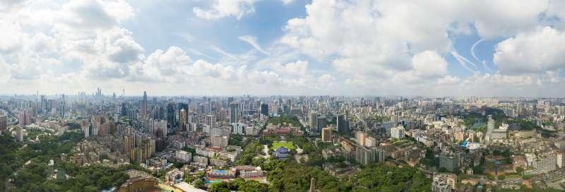 這是廣州城市老中軸線越秀山人民公園全景照片。(新華社)
