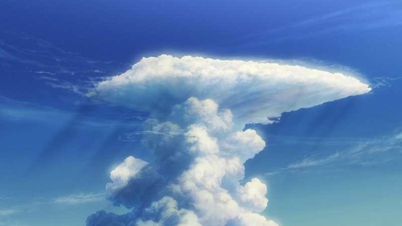 《天氣之子》劇照,積雨雲的特色為圓柱狀,通常伴隨強降雨。(圖/IMDb)