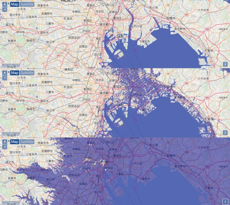 海平面高度對東京都的影響,上而下分別為現況、上升5公尺、上升50公尺。(圖/Floods Maps)