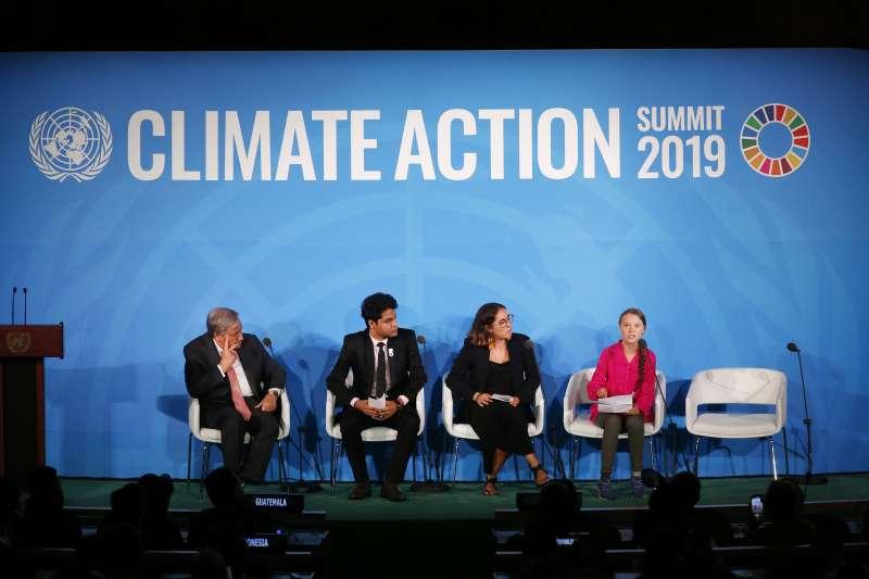 瑞典16歲少女桑伯格23日在聯合國氣候行動峰會發表演說(美聯社)
