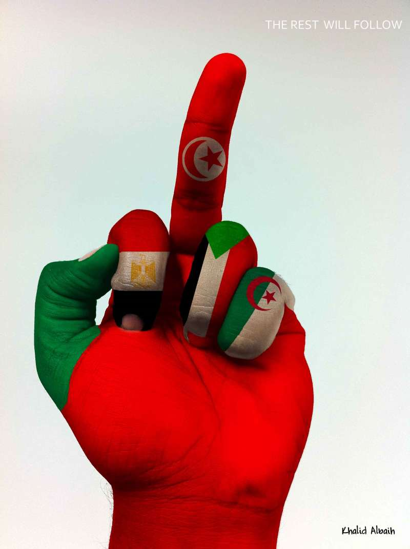 20190926-當年突尼西亞政權更迭後出現的海報,由左至右為利比亞、埃及、突尼西亞、蘇丹、阿爾及利亞,用以呼籲這些國家的人民站出來示威。(取自Khalid Albaih)