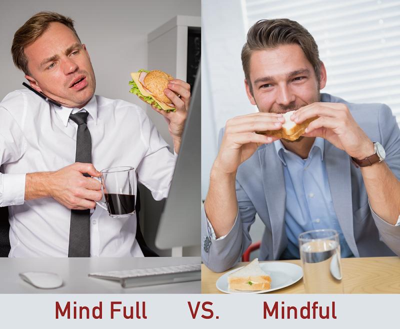 吃飯時,你是煩惱一堆的 Mind Full ,還是享受當下滋味的 Mindful ?(圖說設計/林婷嫻、張語辰)