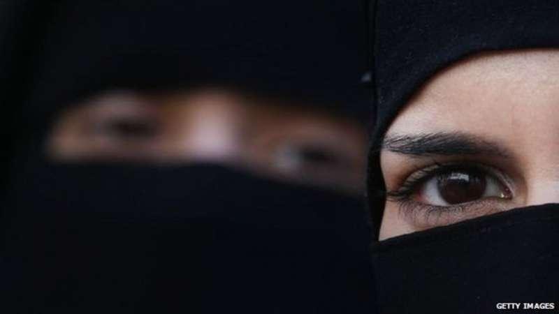 蒙面的沙烏地阿拉伯女性。(BBC中文網)