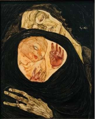 席勒的《死亡的母親( Tote Mutter)》,1910年,藏於維也納Leopold Museum。